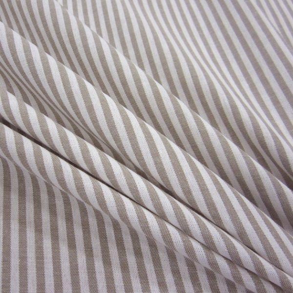 Stoff Baumwolle taupe weiß Streifen 4mm gestreift durchgewebt