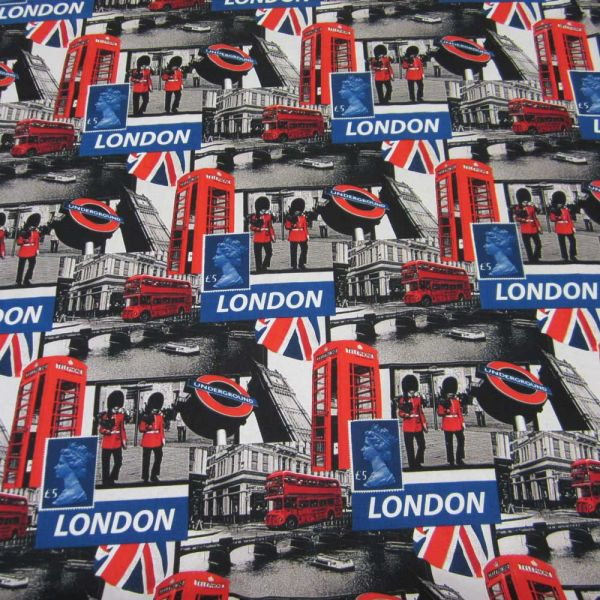 Stoff Meterware Baumwolle London Underground Metro