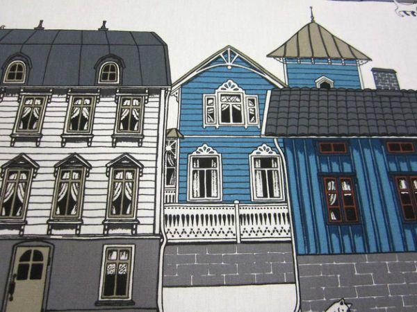 Stoff Baumwolle Schweden Häuser blau weiß Stadt