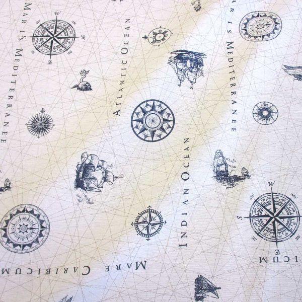 Stoff pflegeleicht Nautik Seekarte maritim weiß blau
