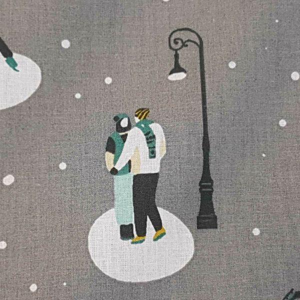 Stoff Meterware Baumwolle grau Schlittschuhläufer Winter romantisch