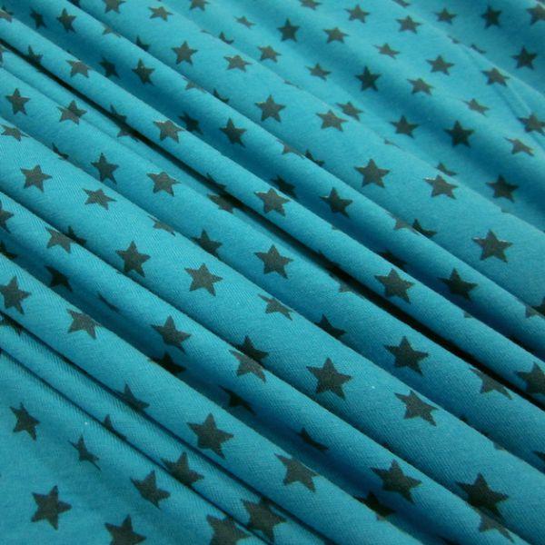 Stoff Baumwolle Jersey Sterne Stern aqua petrol