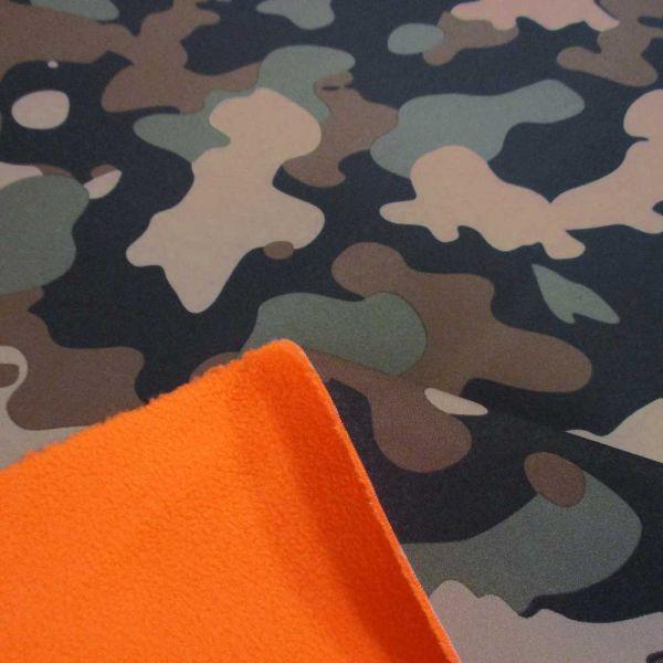 Stoff Meterware Softshell Camouflage braun schwarz oliv neonorange Outdoor