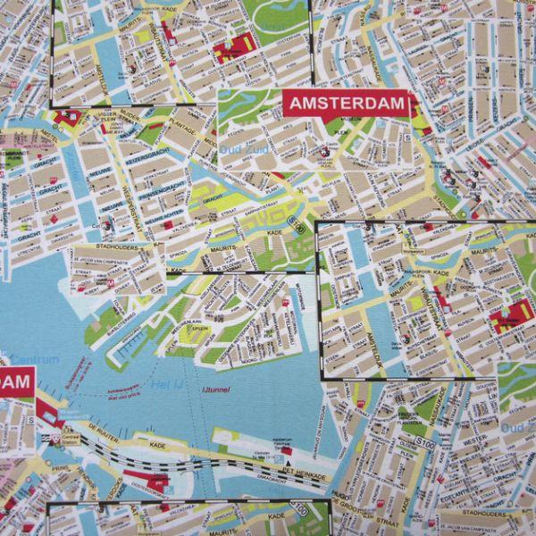 Stoff Baumwolle Stadtplan Plan Map Amsterdam
