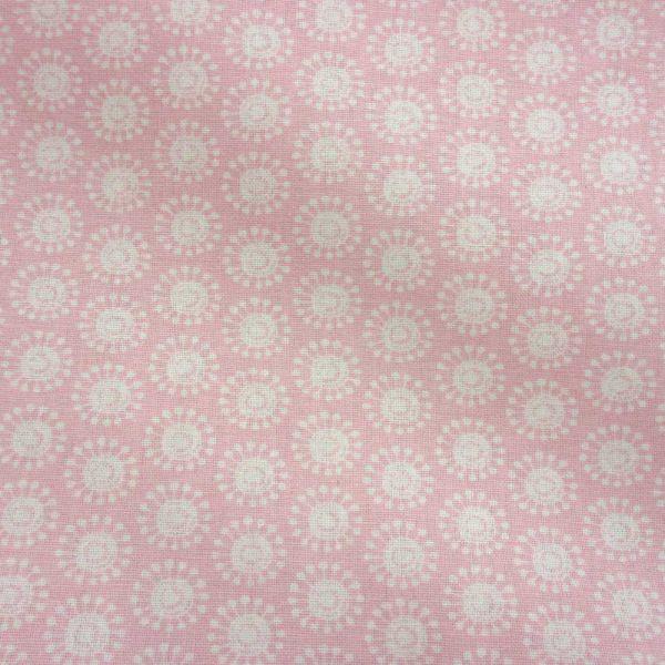 Stoff Baumwolle Moony Kreise retro rosa weiß