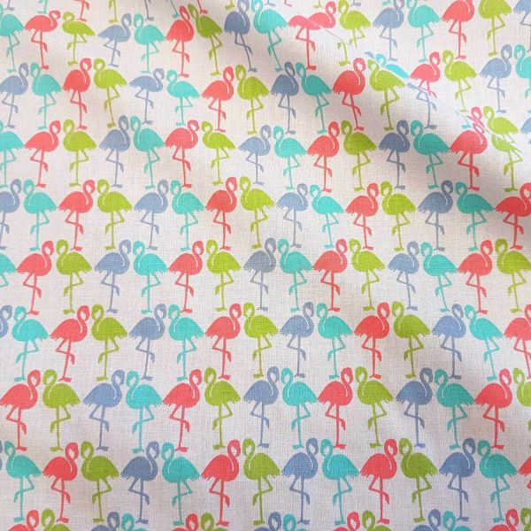 Stoff Meterware Baumwollstoff bunt Flamingo blau rot türkis Dekostoff hellgrau