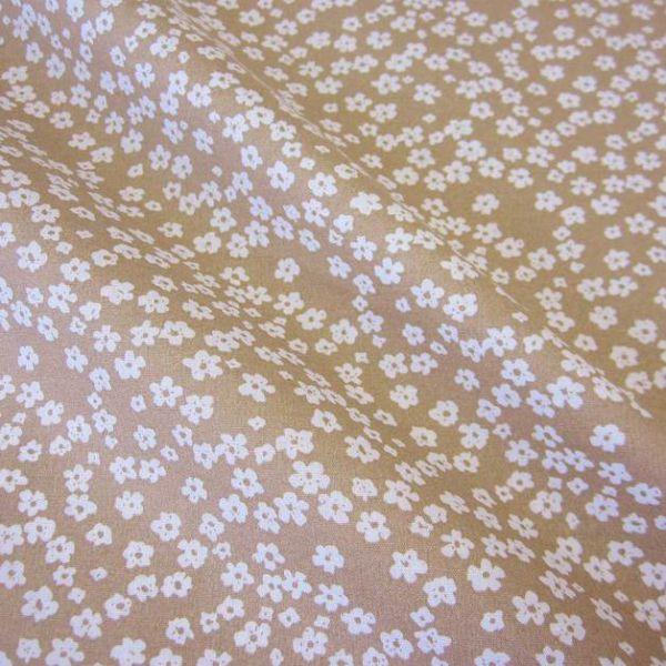 Stoff Baumwollstoff Mille Fleur Streublümchen Blumen beige weiß