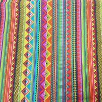 1fe8a1fa32577 Kurzstück Stoff Baumwolle Meterware bunt Streifen Mexiko Mexico gestreift  Dekostoff 0
