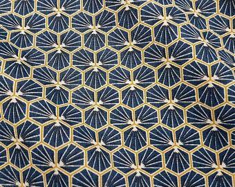 Stoff Baumwollstoff beschichtet Waben indigo safran Blumen abwaschbar Tischdecke 0,5