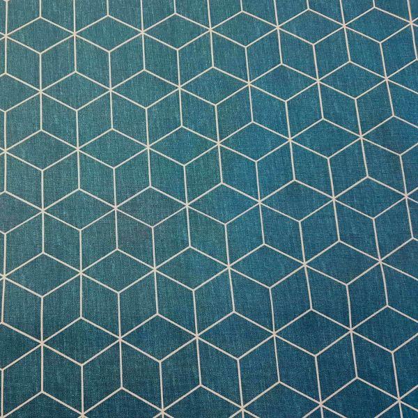 Stoff Meterware beschichtet Origami petrol weiss Wachstuch Tischdecke 0,5