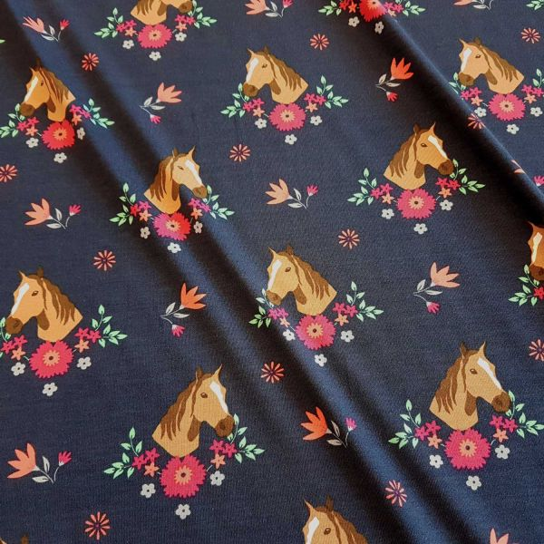 Stoff Jersey Baumwolle dunkelblau Pferd Pferde Blumen pink