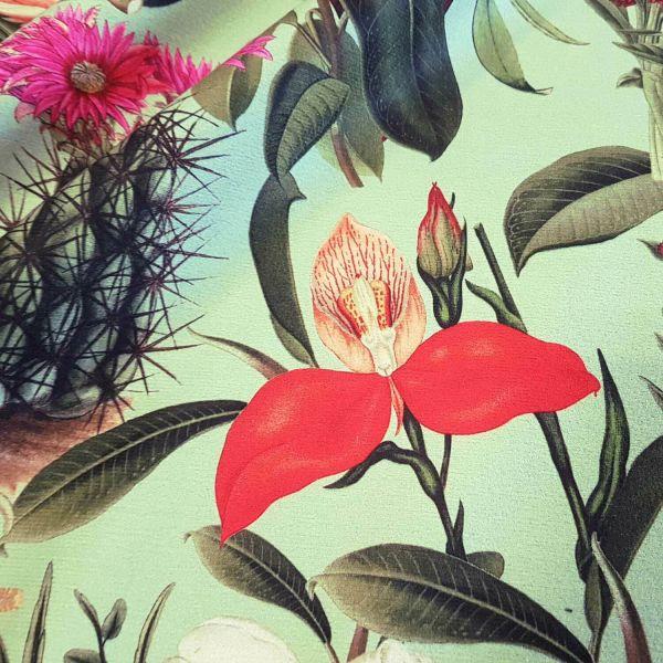 Stoff Meterware Dekosamt Velours Velvet grün bunt Kaktus Blumen Blüten Ixora 0,5