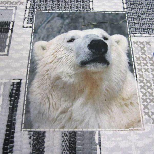 Stoff Baumwolle Eisbär Fotodruck weiß grau Digital
