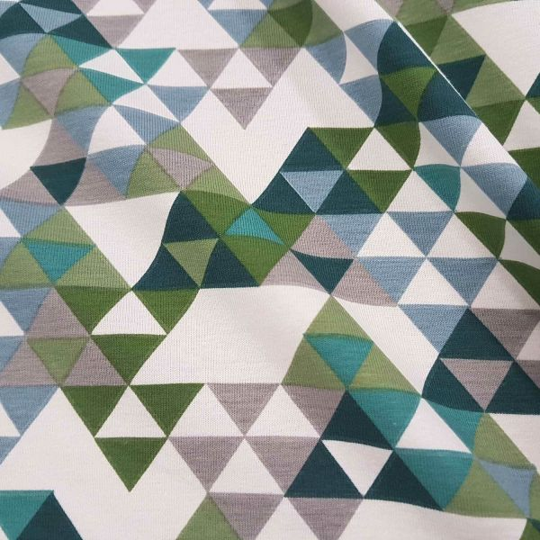 Stoff Baumwolle Jersey grün weiß Dreieck taupe Kleiderstoff Grafik