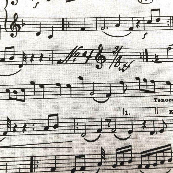 Stoff Baumwollstoff Noten Musik weiss schwarz 0,5