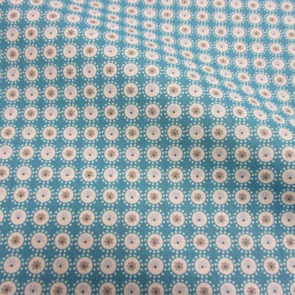 Stoff Baumwolle Mille Fleur Kreise türkis grau weiß Blumen Patchwork