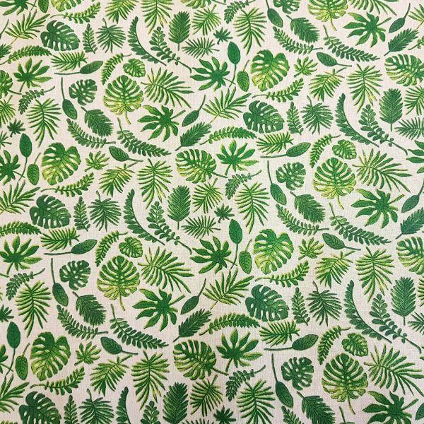 Stoff beschichtet Baumwolle ecru Blätter grün