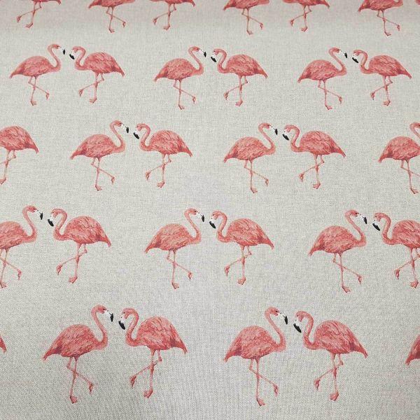 Stoff Meterware Baumwolle natur Flamingo groß rosa pink beige Dekostoff 0,5