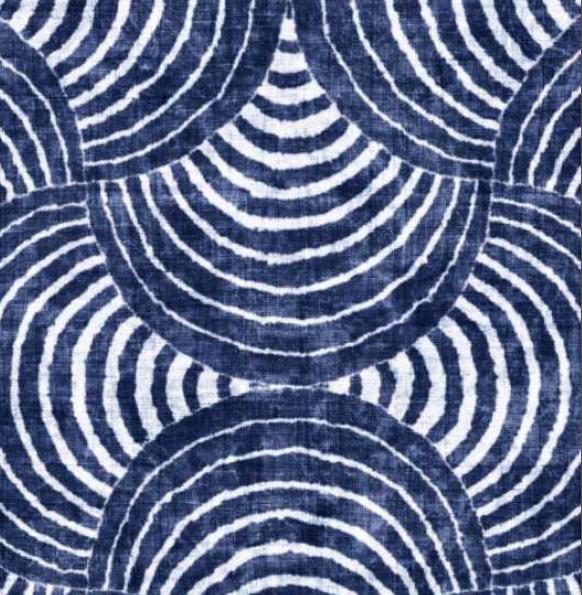 Stoff Meterware beschichtet tintenblau weiss Wellen Kreise 0,5