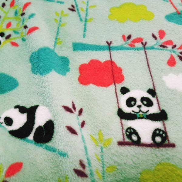 Stoff Wellnessfleece Doubleface Panda Wolken mint petrol