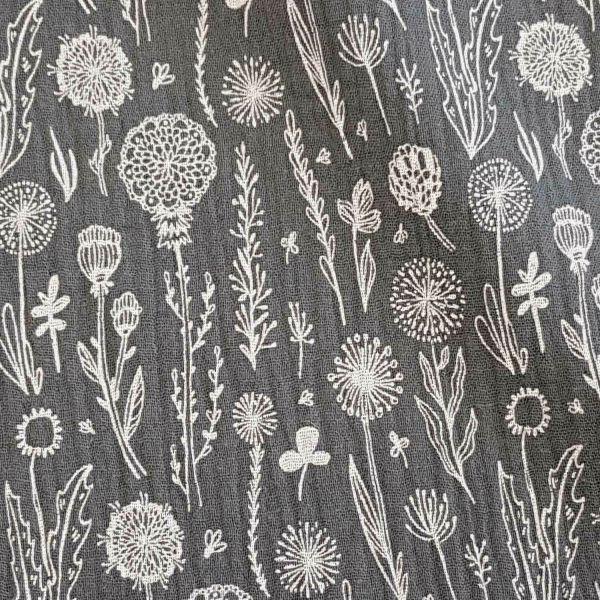 Stoff Baumwolle Blumenwiese grau weiss Musselin Mulltuch