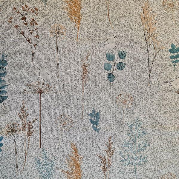 Stoff Baumwollstoff natur Vögel Blätter und Gräser Scandi Stil 0,5