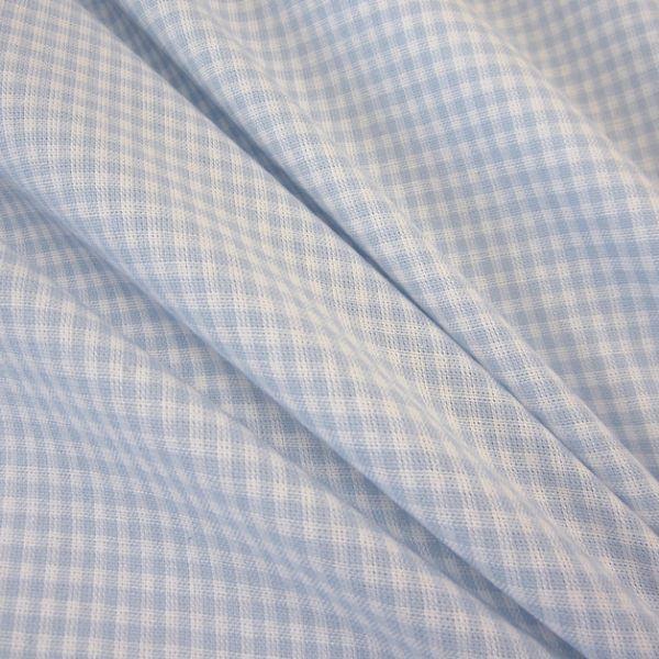 Stoff Baumwolle Vichykaro hellblau weiß 2 mm kariert Karo Meterware