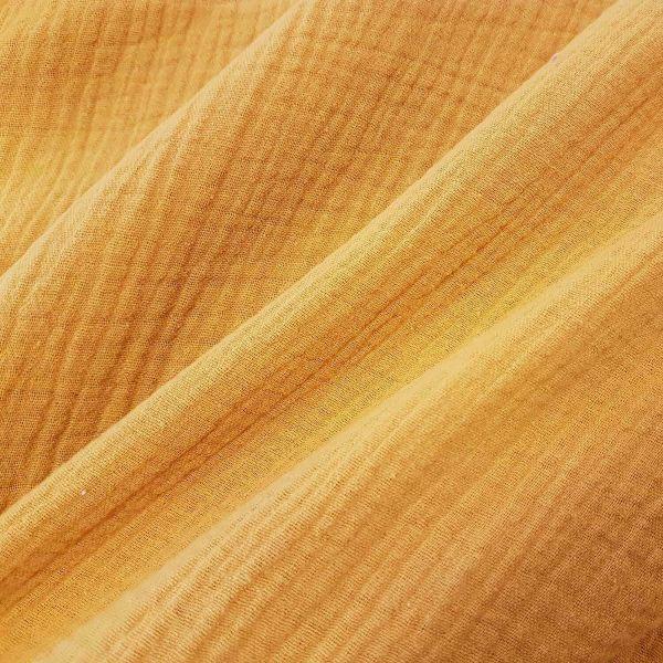 Stoff Baumwolle Musselin Mulltuch senfgelb gelb uni