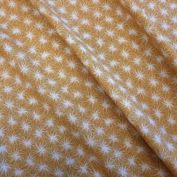 """Stoff Baumwollstoff """"Futon"""" Feuerwerk Wirbel Blüten gelb safran weiss 0,5"""