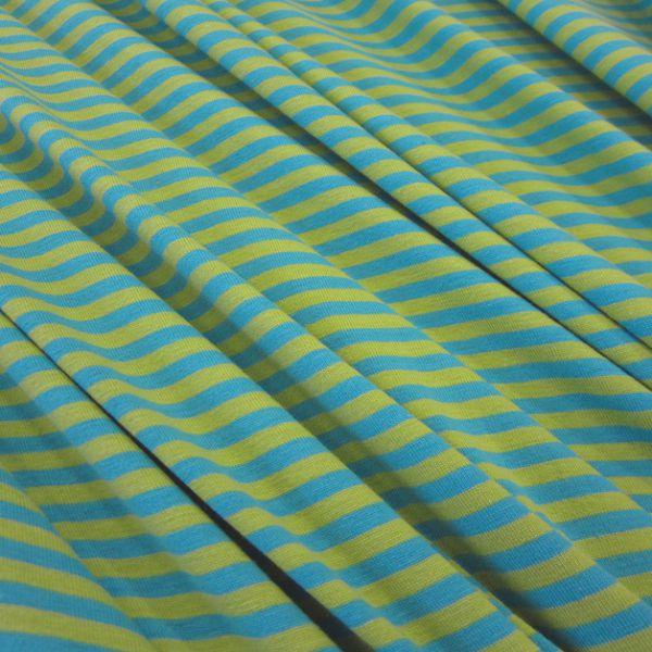 Stoff Baumwolle Jersey kiwi aqua Streifen Ringel gestreift Meterware