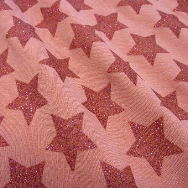 Stoff Meterware Baumwolle Jersey koralle rot lachs Sterne Glitzer Glitter Glanz Trend-