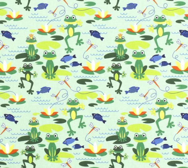 Kurzstück Stoff Meterware Jersey grün Frösche Froschkönig 0,60m x 1,50m