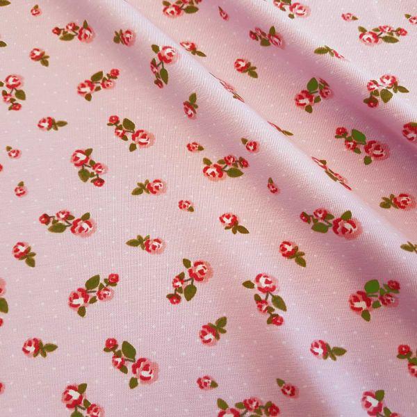 """Stoff Jersey Baumwolle rosa Röschen Punkte nostalgisch """"Dornröschen"""""""