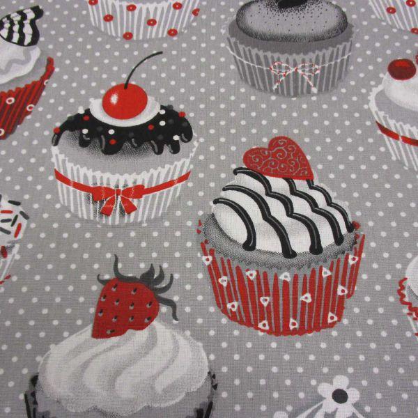 Stoff Baumwolle Muffins Cupcakes hellgrau weiß rot Punkte