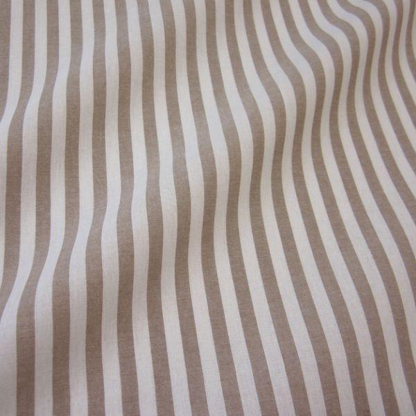 Stoff Baumwolle taupe weiß Streifen 1cm gestreift durchgewebt