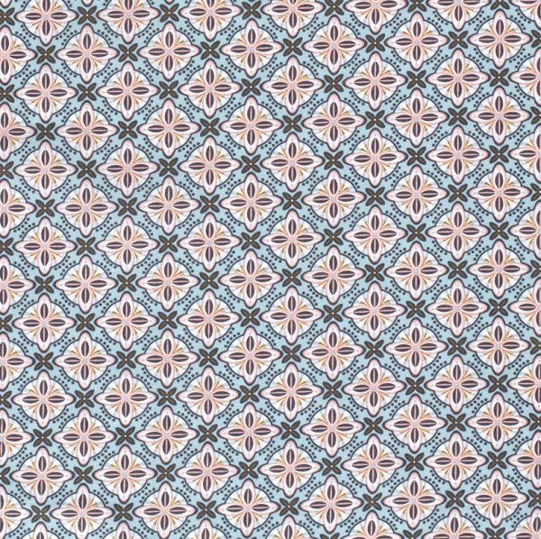 Stoff Baumwolle Popeline Retromuster blau rosa messing 0,5