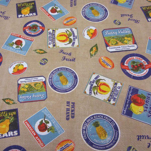 Stoff Baumwolle beschichtet Früchte Ananas Jutelook Wachstuch retro