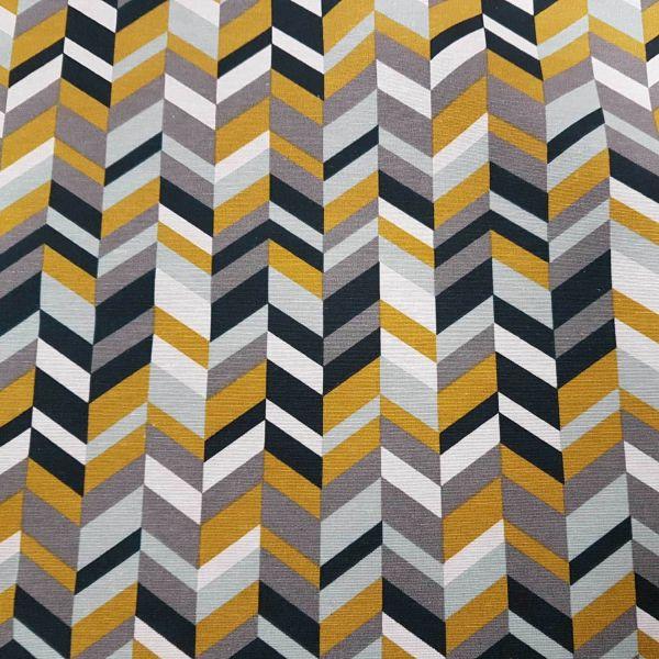 Kurzstück Stoff Baumwolle Meterware gelb grau dunkelblau grau mint weiss Grafik retro 0,50m x 1,40m