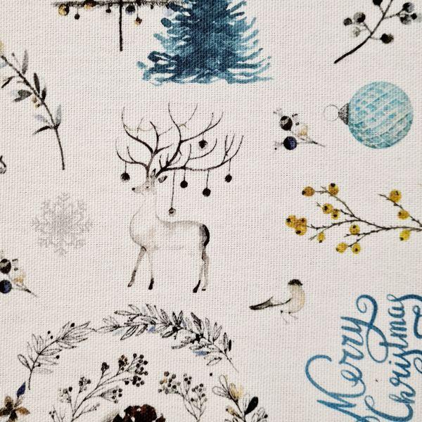 """Stoff Baumwolle """"Merry Christmas"""" Weihnachten weiss Leinenoptik 0,5"""