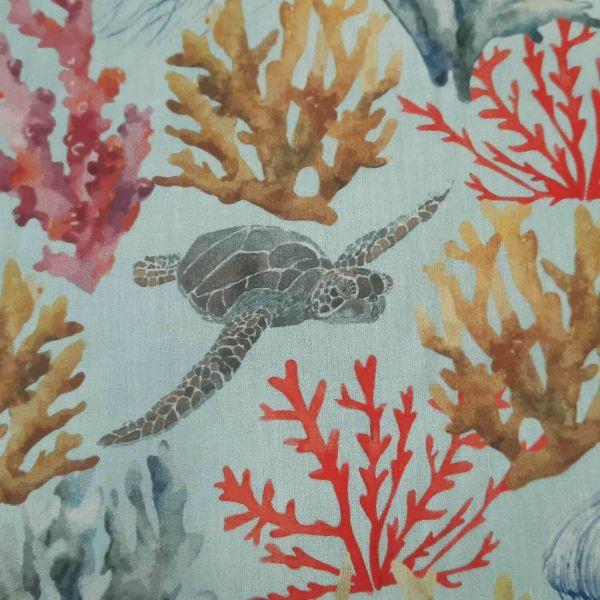 Stoff Baumwolle Percal hellblau Unterwasser Korallen Schildkröte Qualle 0,5