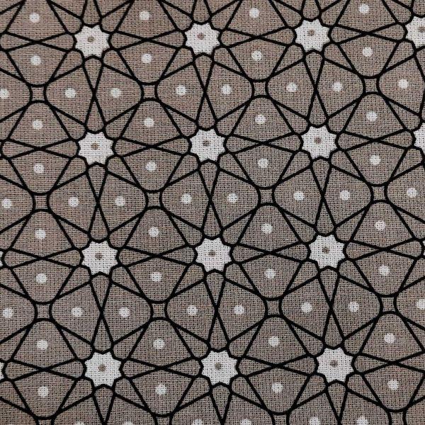 Stoff Baumwollstoff Japan Mosaik Blümchen taupe Ceramik Kimono 0,5