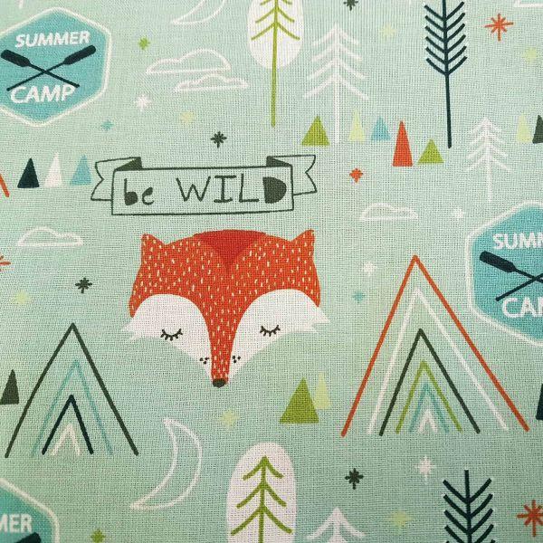 Stoff Meterware Baumwolle mint Fuchs Camp wild Dekostoff Frankreich 0,5