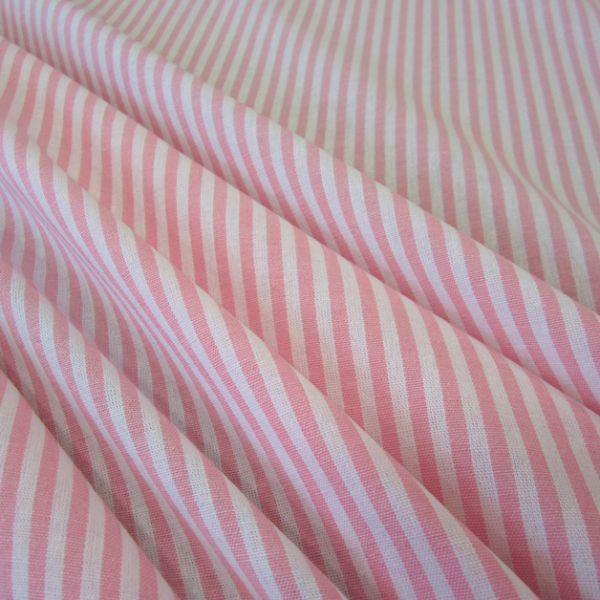 Stoff Baumwolle rosa weiß Streifen 4mm gestreift durchgewebt