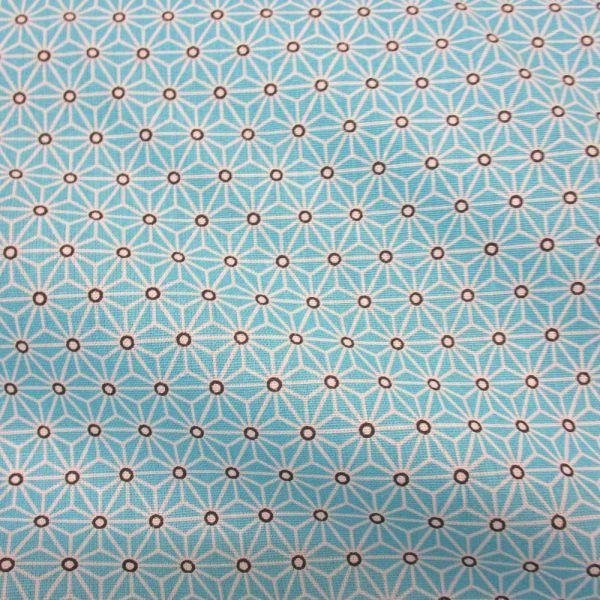Stoff Baumwollstoff Japan Asanoha Grafik aqua weiß Kimono