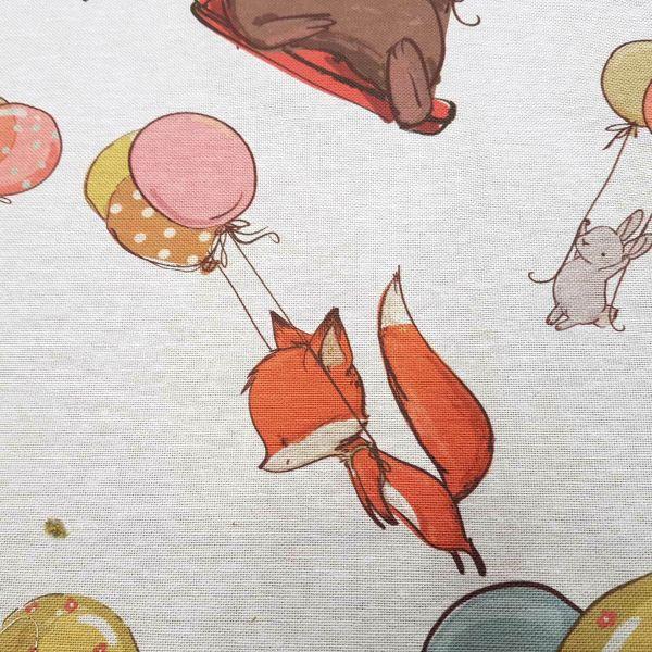 Stoff Meterware Kinderstoff Hase Fuchs Bär Luftballon Elefant weiß bunt 0,5