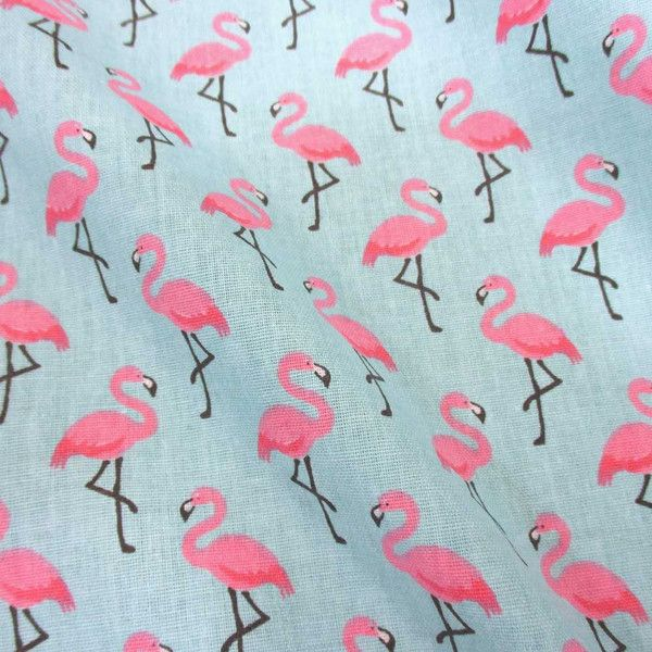 Stoff beschichtet Baumwolle türkis pink Flamingos