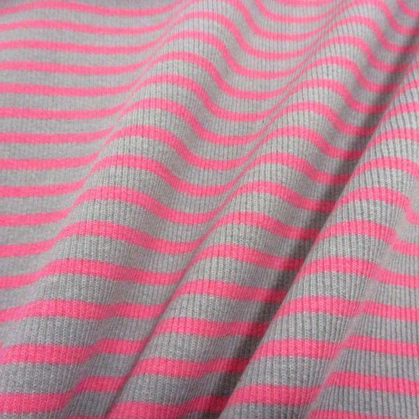 Bündchenstoff Jersey Schlauchware Ringel grau pink gerippt