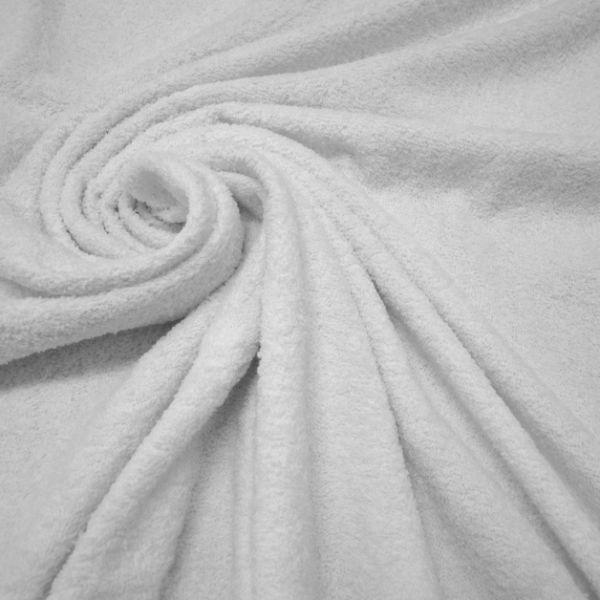 Stoff Meterware Baumwolle Frotté Frottee weiß reinweiß weich stabil 0,5 Ökotex100