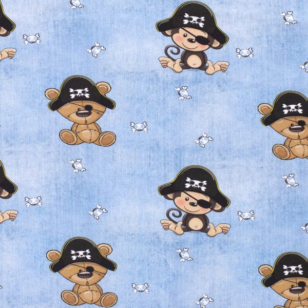 Stoff Meterware Jersey Jeansoptik Piratenaffen und Teddys 0,5