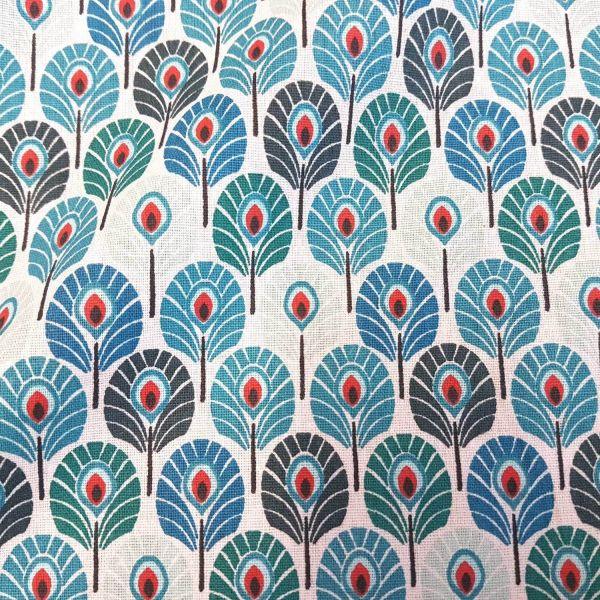 Stoff Meterware Baumwolle petrol blau rot Pfauenfeder Federn aus Frankreich